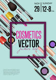 Cosmetics Vector Promo Poster with Date and Time. Cosmetics product presentation poster. Makeup accessories set. Cosmetics promotion flyer with date and time Stock Images