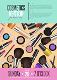Cosmetics Vector Promo Poster with Date and Time. Cosmetics product presentation poster. Makeup accessories set. Cosmetics promotion flyer with date and time Stock Photography