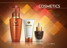 Cosmetics Vector realistic package ads template. Face cream and hair products bottles. Mockup 3D illustration. Abstract. Background Stock Images
