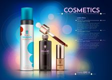 Cosmetics Vector realistic package ads template. hair products bottles. Mockup 3D illustration. Abstract blue. Background Stock Image