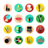 Cosmetics vector set icon. Multicolored icons with cosmetic products and the elements Royalty Free Stock Photo