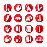 Cosmetics vector set icon. White icons with cosmetic products and the elements. To create a make-up in red round frame with shadow, for internet, web, mobile Stock Illustration