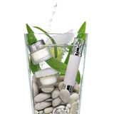 Cosmetics in the water. Cosmetics in a vase of water with stones and green leaves Royalty Free Stock Photos