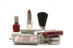 Cosmetics on White Background Stock Images