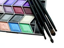 Cosmetics for women on white background stock image