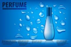 Cosmetischee productenadvertentie De blauwe achtergrond van waterdalingen met mooie parfumcontainer Transparante 3d parfumvector Royalty-vrije Stock Fotografie