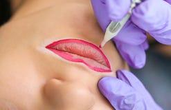 Cosmetologist, der dauerhaftes Make-up auf Frau ` s Gesicht macht Lizenzfreies Stockfoto