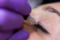 Cosmetologist die permanente make-up op ogen toepassen royalty-vrije stock afbeeldingen