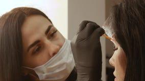 Cosmetologist kämmt die Augenbrauen stock footage