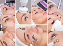 The cosmetologist makes the apparatus a procedure of Microcurren. Collage of various cosmetic procedures for a young, beautiful women in a beauty salon Royalty Free Stock Photography