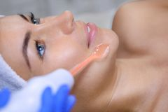 The cosmetologist makes the procedure Microcurrent therapy of the facial skin Royalty Free Stock Image