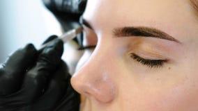 Cosmetologist performs the procedure of correction eyebrow with tweezers. Front eyes closeup view. Cosmetologist performs the procedure of correction eyebrow stock footage