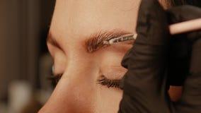 Cosmetologist ręki applys farba na brwiach zbiory