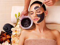 Cosmetologist smears cosmetic mask on the face of  woman Stock Images