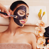 Cosmetologist smears cosmetic mask on the face of  woman Stock Image