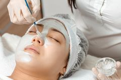 Cosmetologist puts a mask on the face. Cosmetologist uses a face mask for a young woman royalty free stock photo