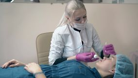 Cosmetologist wendet Farbe auf Frauenaugenbrauen im Salon an stock footage