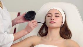 Cosmetology ειδικός που εφαρμόζει την του προσώπου μάσκα που χρησιμοποιεί τη βούρτσα, καθιστώντας το δέρμα ενυδατωμένο και υγιής  απόθεμα βίντεο