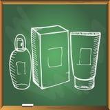Cosmetology καθορισμένα μπουκάλια στο chackboard Στοκ Φωτογραφία