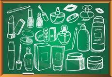 Cosmetology που τίθεται στον πίνακα κιμωλίας Στοκ Εικόνες