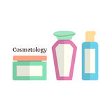 Cosmetology with colored flacons Royalty Free Stock Image