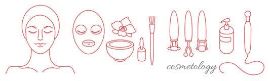 cosmetology Insieme degli strumenti per bellezza e pelle giovanile Vettore Fotografia Stock Libera da Diritti