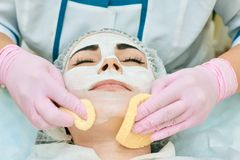 Cosmetology room, treatment and skin cleansing with hardware, acne treatment stock images