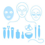 Cosmetology. Set of tools for beauty and youthful skin on white background. Vector. Illustration isolated and grouped for easy editing. Face, mask, brush, cream Stock Image
