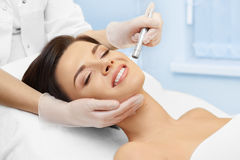 Cosmetology. Spa clinic. Hardware cosmetology. Spa clinic. Beautiful woman at skin treatment procedure. Microdermabrasion. Young healthy skin. Facial stock photography