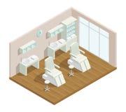 Cosmetology Studio Isometric Interior Stock Image