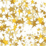 Cosmic abstract vector background with gold stars. Decorative pa. Ttern with golden night sky objects on white. Glitter star confetti, magic shining sparkles Royalty Free Illustration