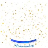 Cosmic abstract vector background with gold stars falling down. Decorative pattern with golden night sky objects on white. Glitter star confetti, magic shining Royalty Free Illustration
