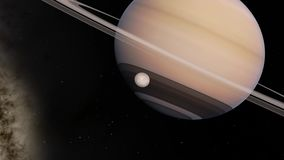 Rotating Saturn and moon 3d animation
