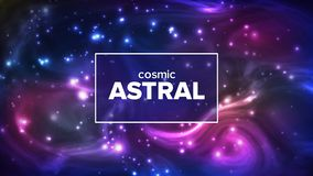 Cosmic Astral With Night Sky Stars Banner Vector. Bright Colorful Galaxy Astral Universe Astronomy And Astrology Science. Deep Interstellar Space And royalty free illustration