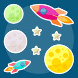 Cosmic background with bright colored planets and spaceships in Stock Photo