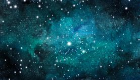 Cosmic background. Colorful watercolor galaxy or night sky with stars.