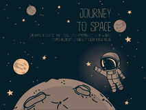 Cosmic background with cute doodle astronauts floating in space and place for text Royalty Free Stock Image