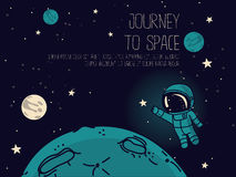 Cosmic background with cute doodle astronauts floating in space and place for text Stock Images