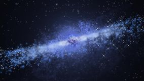 Cosmic background with a galaxy in motion. stock video