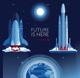 Cosmic banner for space tranport evolution with space shuttle and falcon heavy. Can be used for space exploratioin program, vector illustration Royalty Free Stock Image