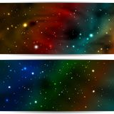 Cosmic Banner starry sky. Space headers site with shining stars. Vector, EPS 10 vector illustration