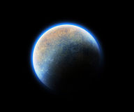 Cosmic blue space planet Royalty Free Stock Images