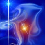 Cosmic blue star nebula background. Cosmic star on blue and orange nebula sparkling background. Planetarium image and texture Royalty Free Stock Image