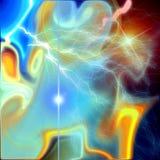 Cosmic blue star nebula and thunder background stock photos