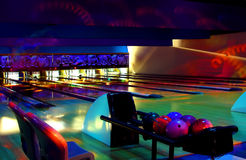 Cosmic Bowling. Bowling lanes on a cosmic night Royalty Free Stock Photo