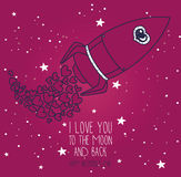Cosmic card for valentine`s day, doodle rocket with hearts on starry sky Royalty Free Stock Image