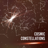 Cosmic Constellations Abstract Background Vector. Deep Space. Illustration Of Cosmic Nebula With Star Cluster. Stock Image