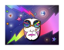 Cosmic Cool. Contemporary pop art style ilustration of a mask/face wearing cosmic sunglasses on a celestial space background of the universe featuring lightening vector illustration