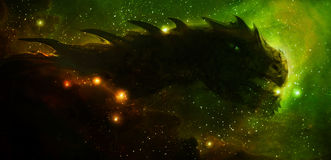 Cosmic dragon in space and stars, green, yellow. And orange cosmic abstract background. Fire effect Stock Illustration