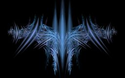 Cosmic emblem of the future. Symmetrical pattern composed of blue tones of lines arranged in the form of the spread wings on a black background royalty free illustration